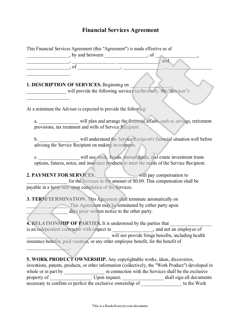 Sample Financial Services Agreement Form Template