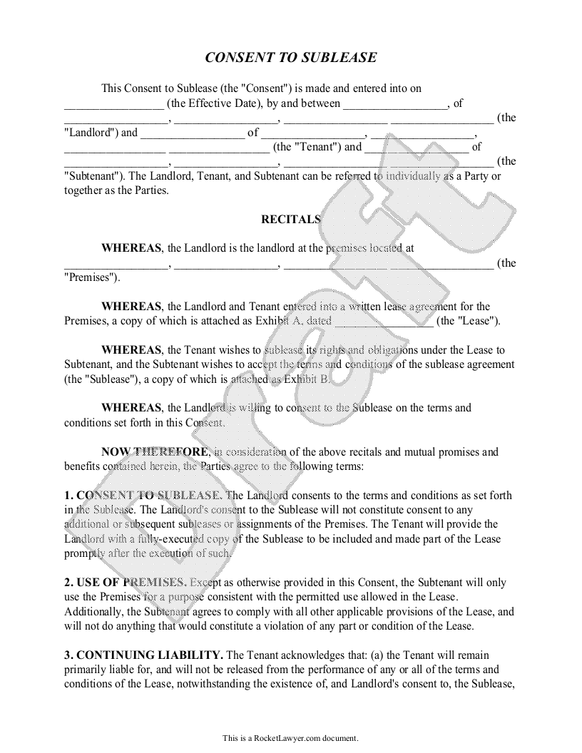 Sample Consent to Sublease Form Template