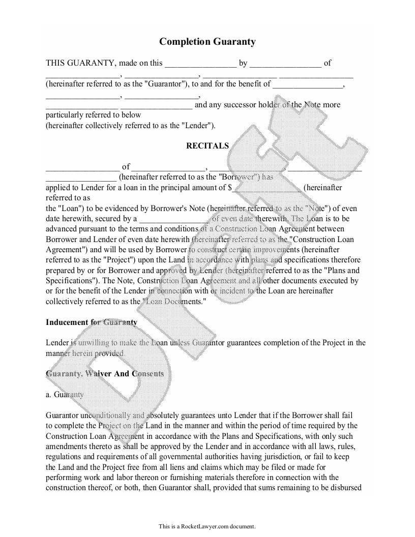 Sample Completion Guarantee Form Template