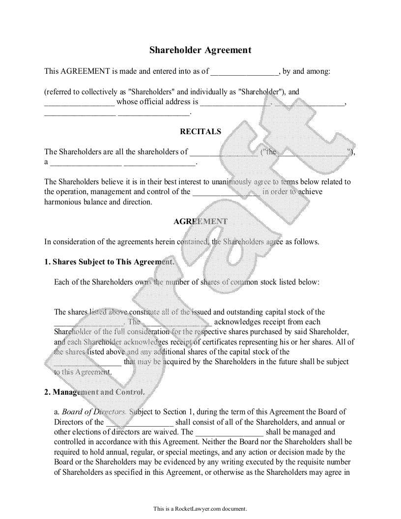 Sample Shareholder Agreement Form Template