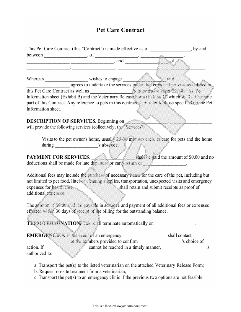 Sample Pet Care Contract Form Template