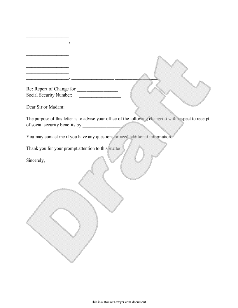 Sample Social Security Change in Information Form Template