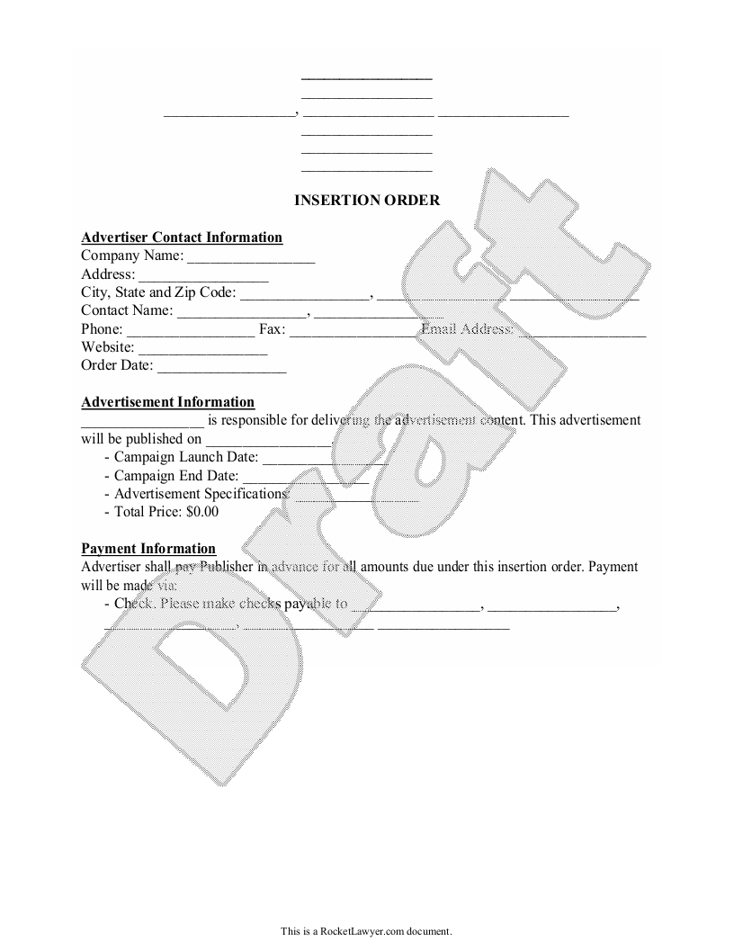 Sample Insertion Order Form Template