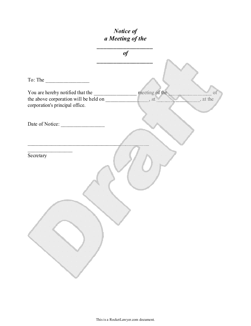 Sample Notice of Meeting Form Template