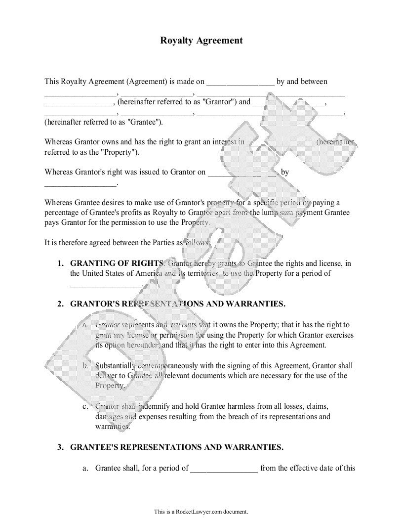 Sample Royalty Agreement Form
