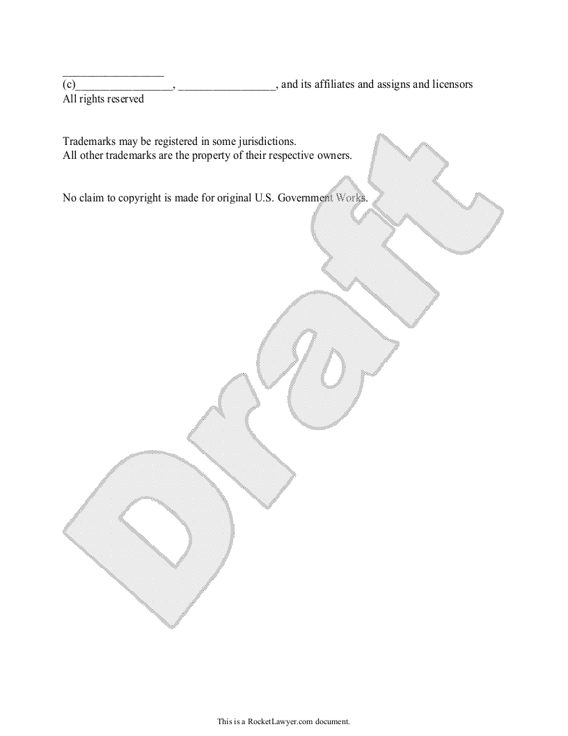 Sample Copyright Notice Form Template