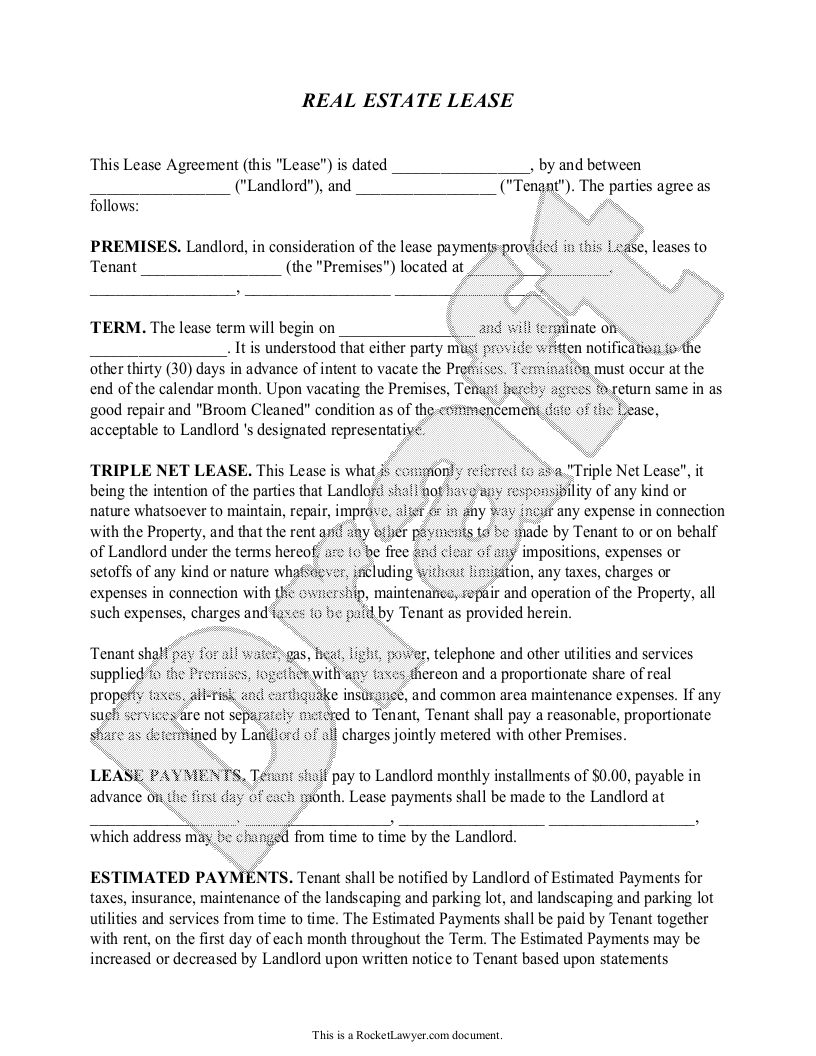 Sample Triple Net Lease Form Template