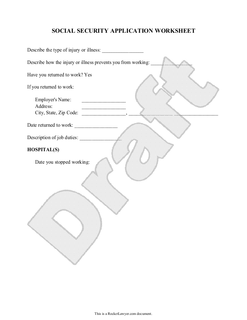 Sample Social Security Application Worksheet Form Template