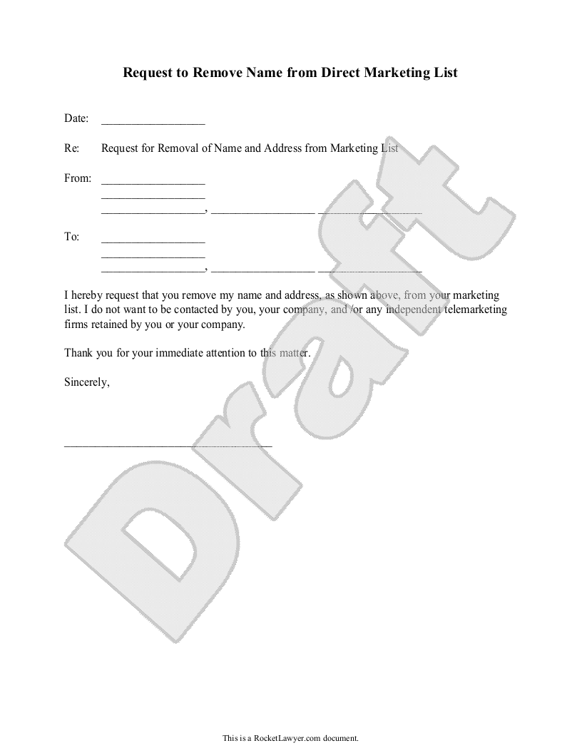 Sample Request to Remove Name from Direct Marketing List Form Template