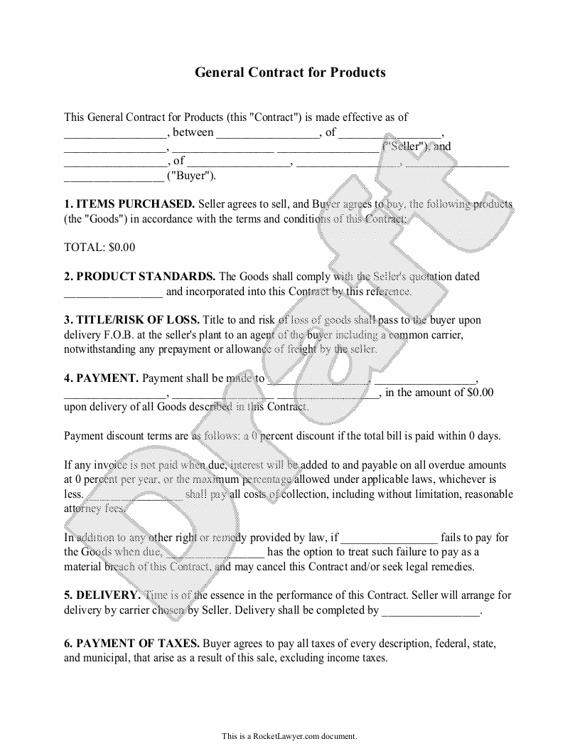 Sample Product Agreement Form