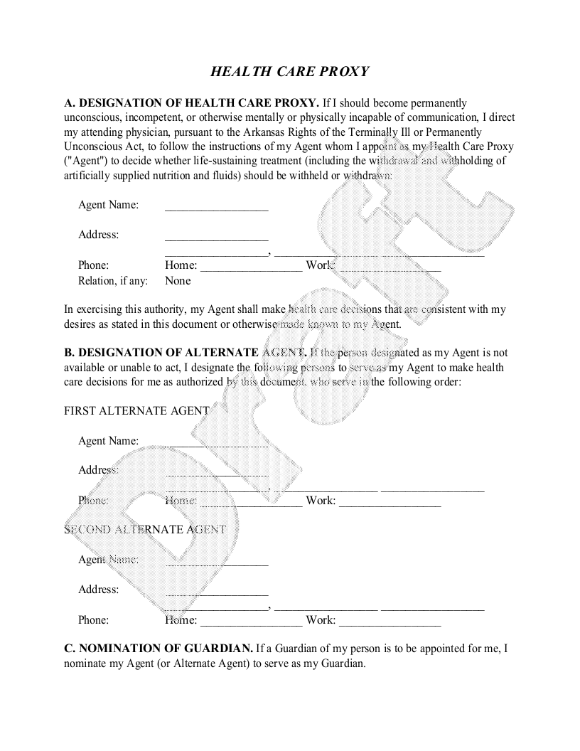 Sample Arkansas Healthcare Power of Attorney Form Template