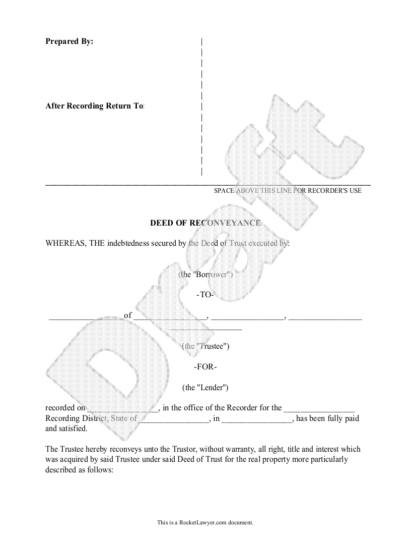 Sample Deed of Reconveyance Form Template