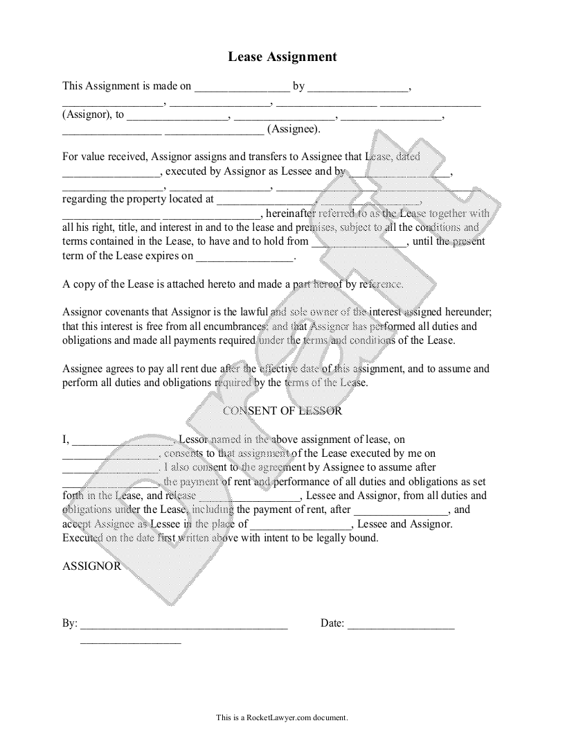 Sample Lease Assignment Form Template
