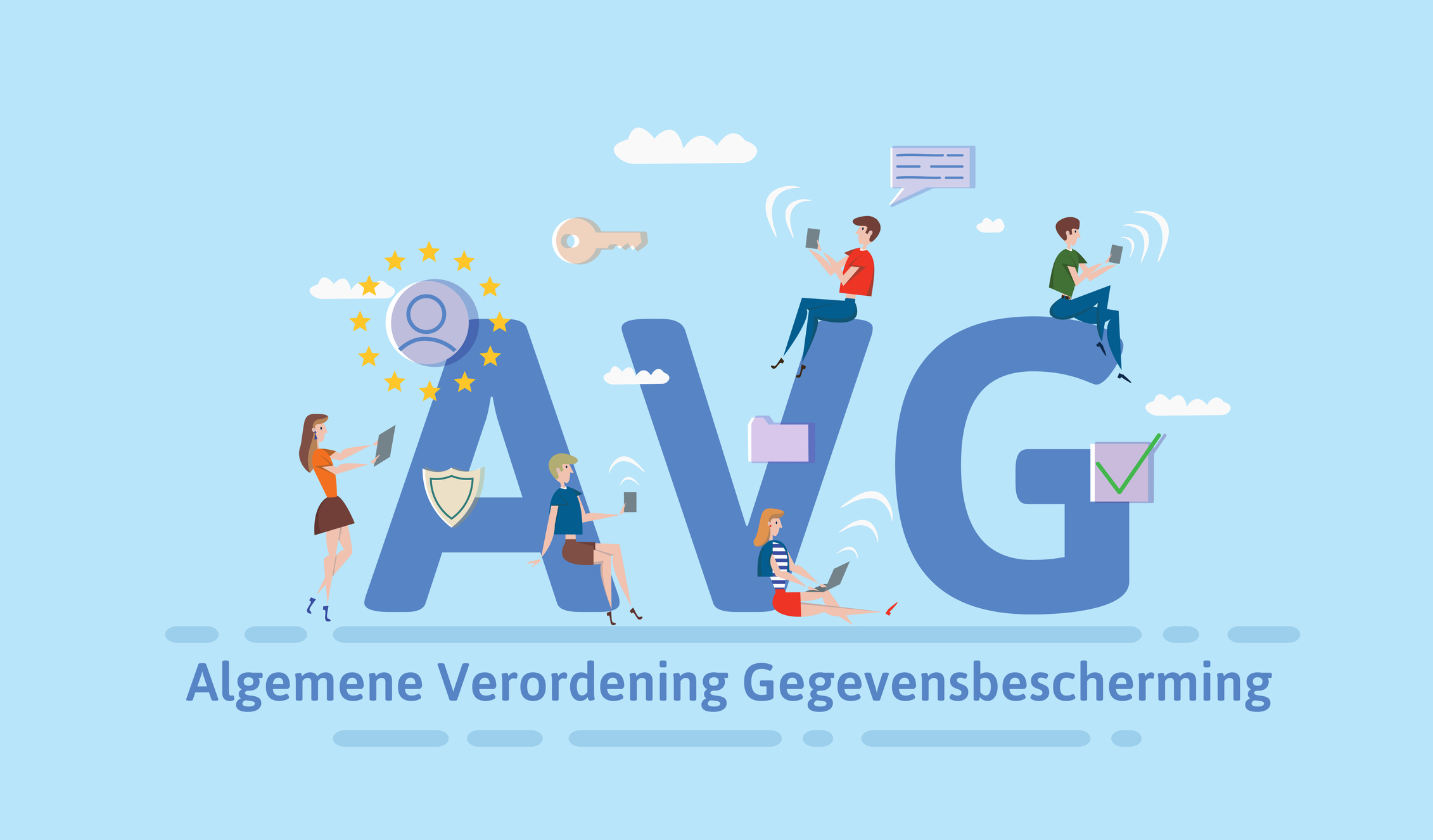 general data protection regulation in netherlands people using mobile gadgets and internet devices among big avg letters gdpr, avg, dsgvo concept vector illustration flat style horizontal