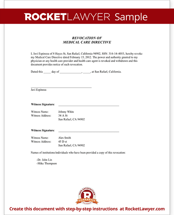 advanced directive template - advance directive for health care revocation form