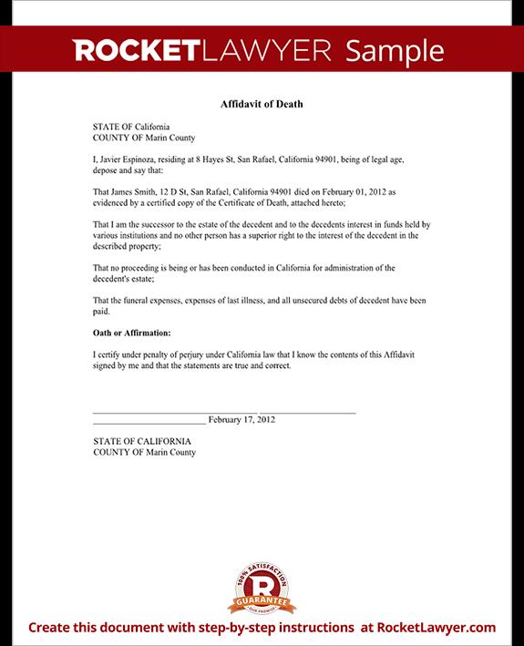 Affidavit of Death Form - Death Affidavit Sample, Template