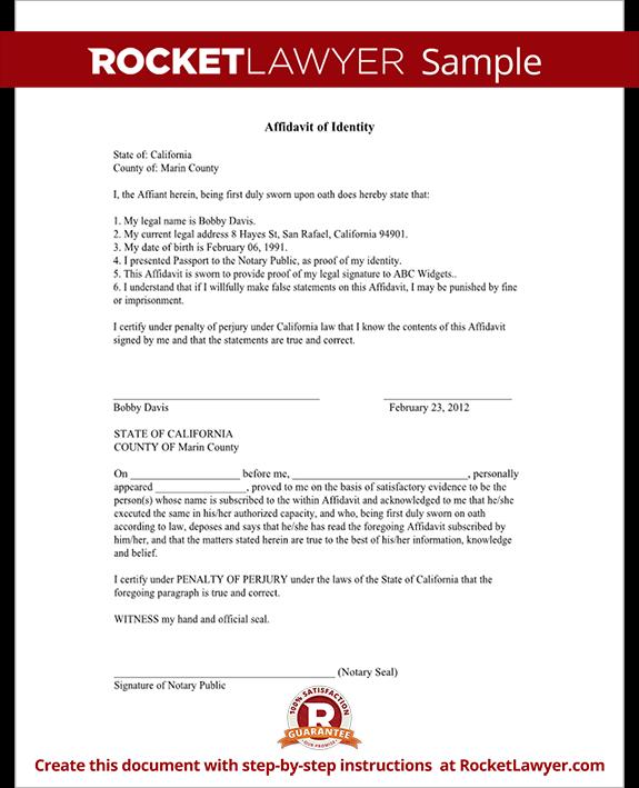 Affidavit Of Identity Form Free Identity Affidavit Sample