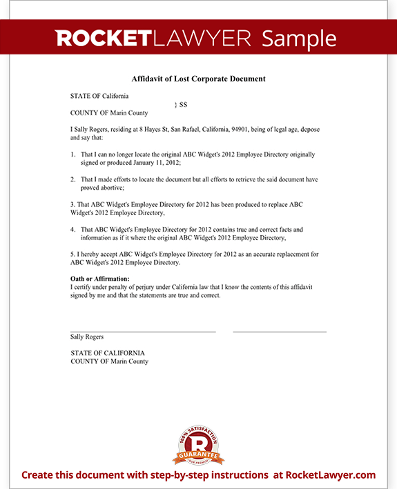Affidavit of Lost Corporate Document Form, Stock Certificate - Sample