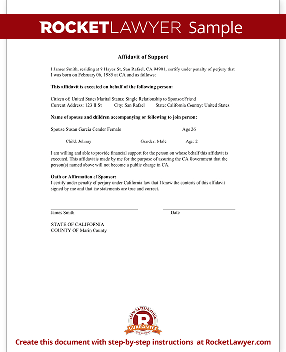 Affidavit Of Support Sample Letter