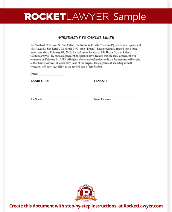 Sample Agreement to Cancel Lease Form Template