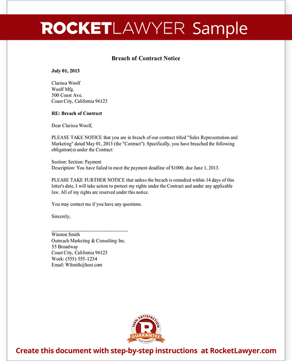 Breach Of Contract Notice Letter Amp Sample