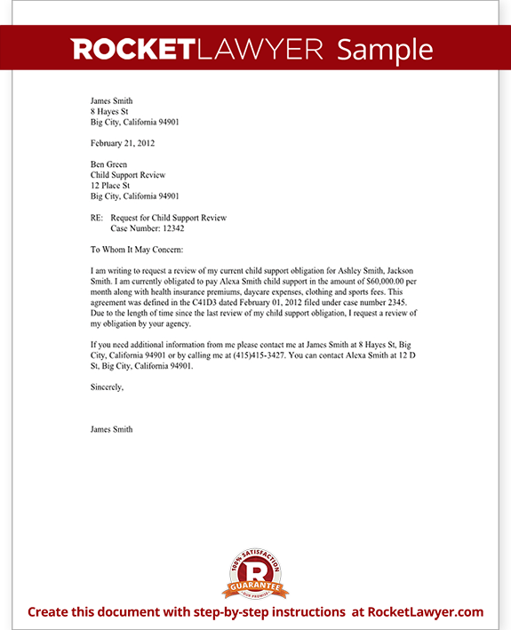Child Support Review Letter - Request Review - with Sample
