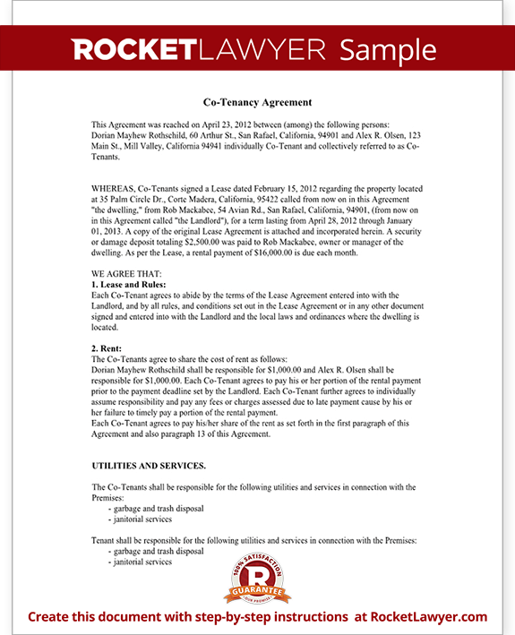 Co Tenancy Agreement Form Co Tenant Contract Sample