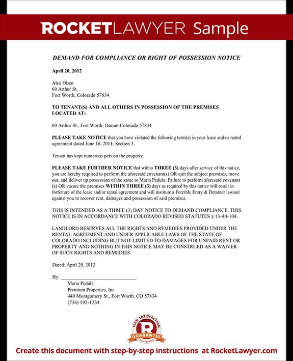 Colorado Eviction Notice Form