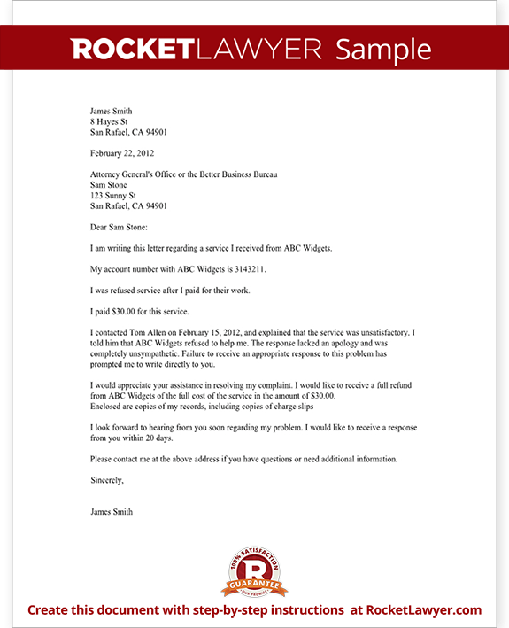 Sample Complaint Letter to a BBB or Attorney General Form Templatepng gtKhQeru