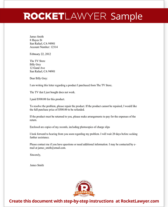 Sample Complaint Letter to a Company Form Template