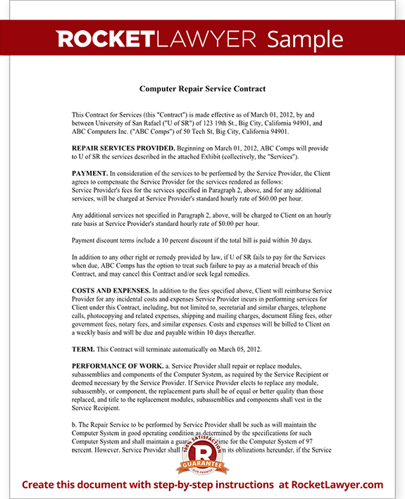 computer repair service agreement template computer service contract repair computer template