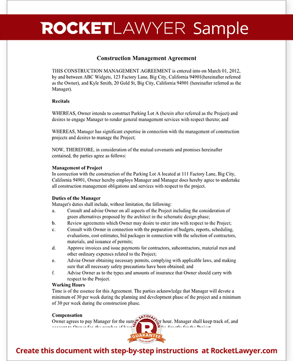 Construction management agreement contract form with sample for Free temporary employment contract template