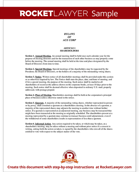 Corporate bylaws template with sample for S corp bylaws template