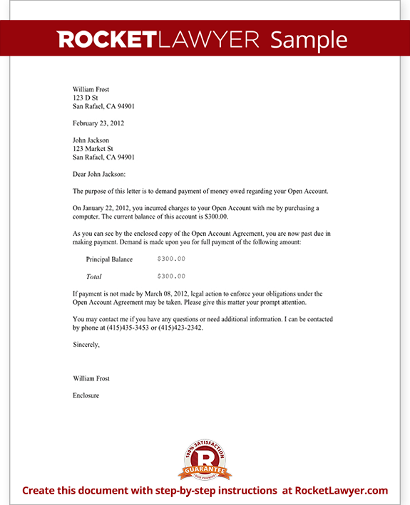 Demand Letter For Money Owed With Sample