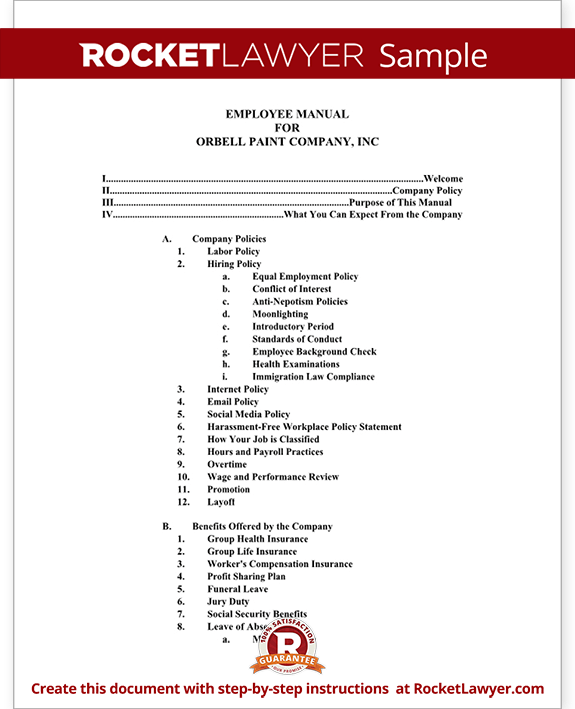 Employee manual template document with sample for Employee procedure manual template
