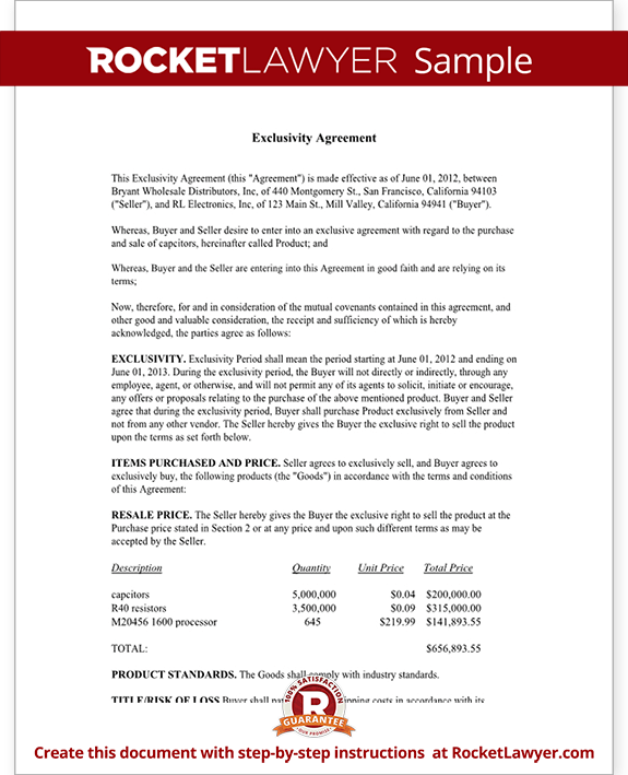 exclusivity letter template exclusivity agreement contract template with sample