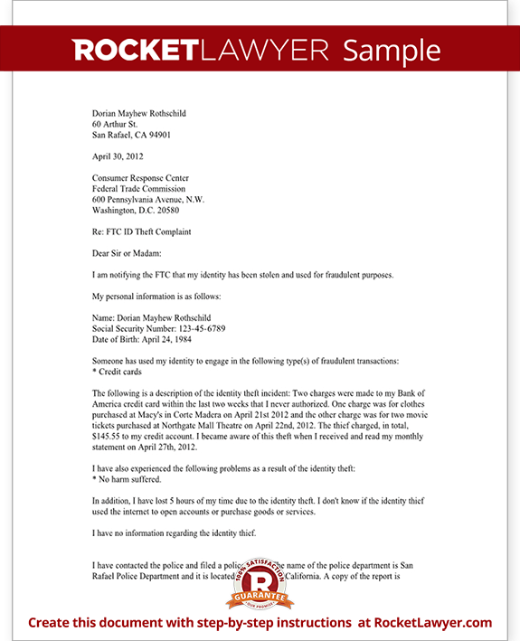 Ftc Sample Letter To Credit