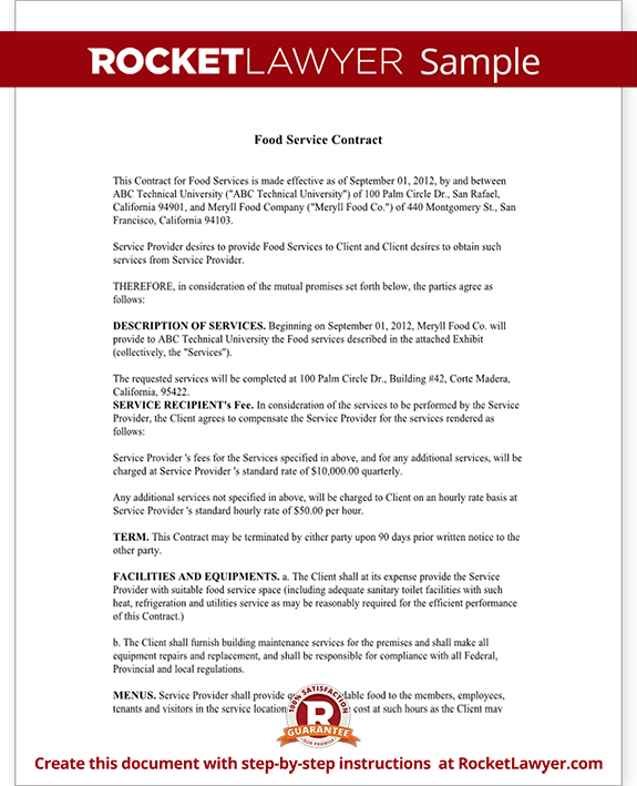 Sample Food Service Contract Form Template Test