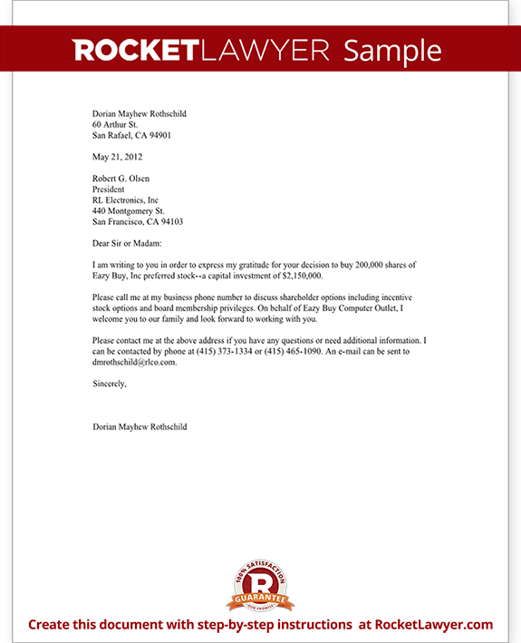 Sample Free Form Letter