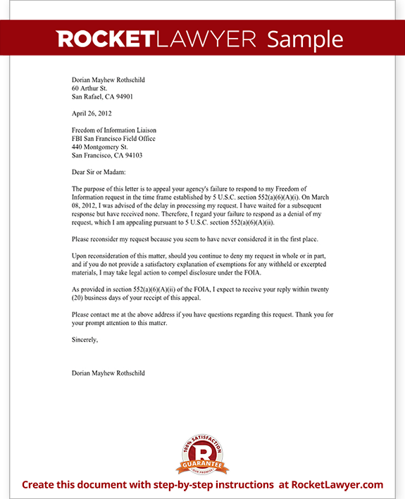 freedom of information appeal letter  template with sample