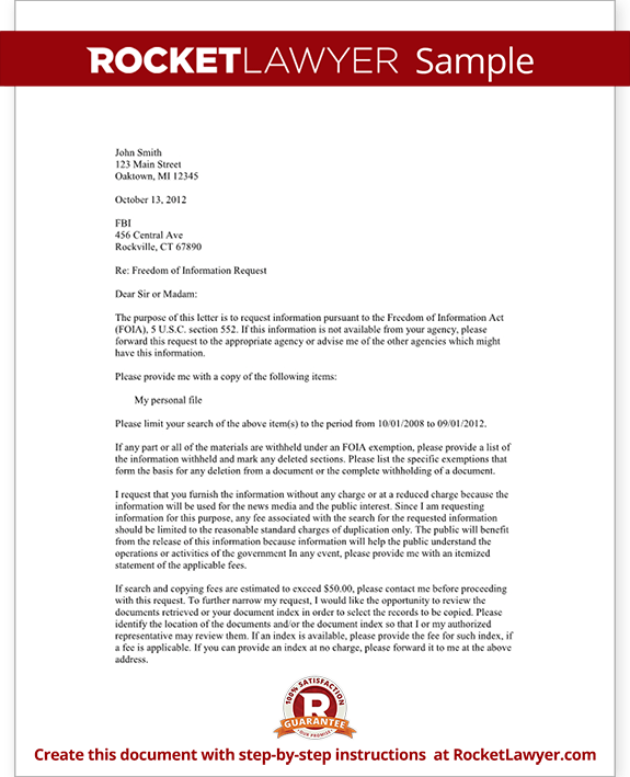 Freedom Of Information Act Request Letter Texas