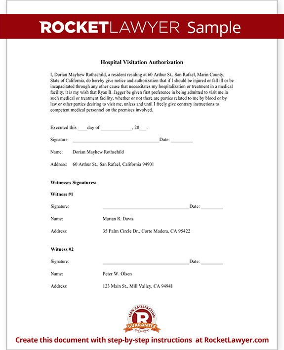 Sample Hospital Visitation Authorization Form Template