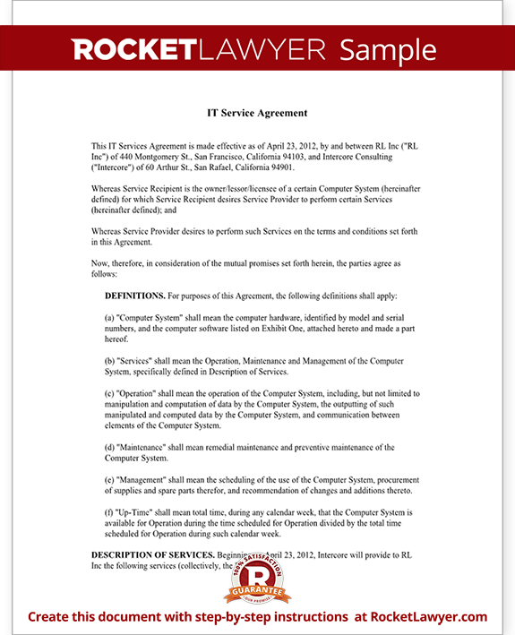 IT Service Contract Agreement Template With Sample