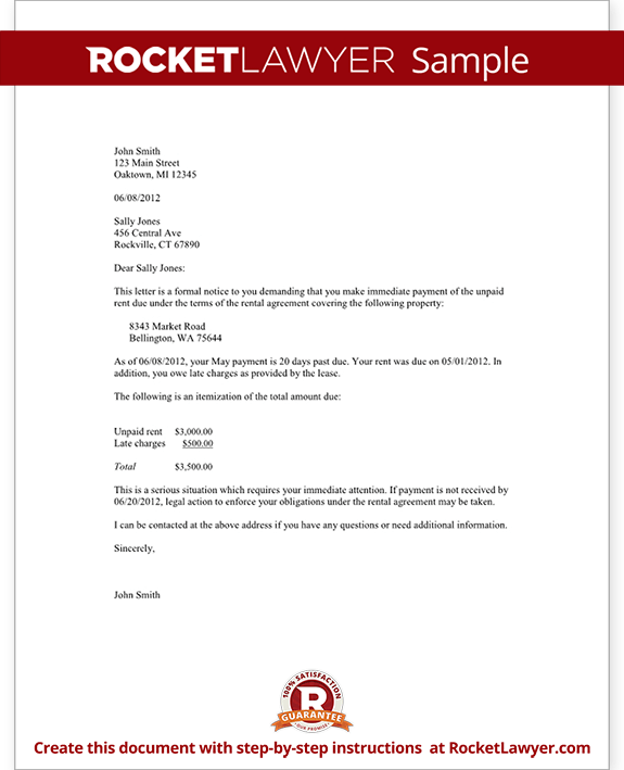 Late rent payment letter template spiritdancerdesigns