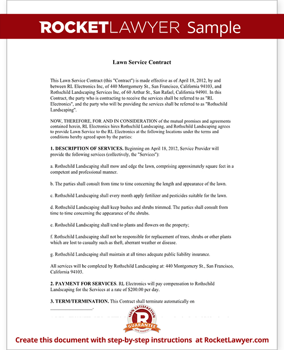 lawn service contract template with sample. Black Bedroom Furniture Sets. Home Design Ideas
