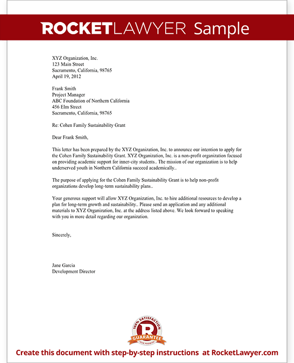 rfp letter of intent template - letter of intent for grant for non profit template with