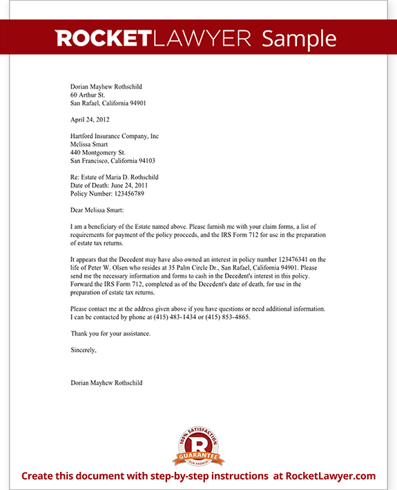Life Insurance Proceeds Letter (Template With Sample)