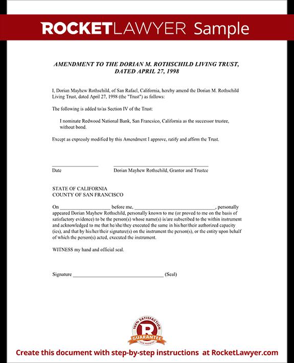 Living Trust Amendment Form | Rocket Lawyer