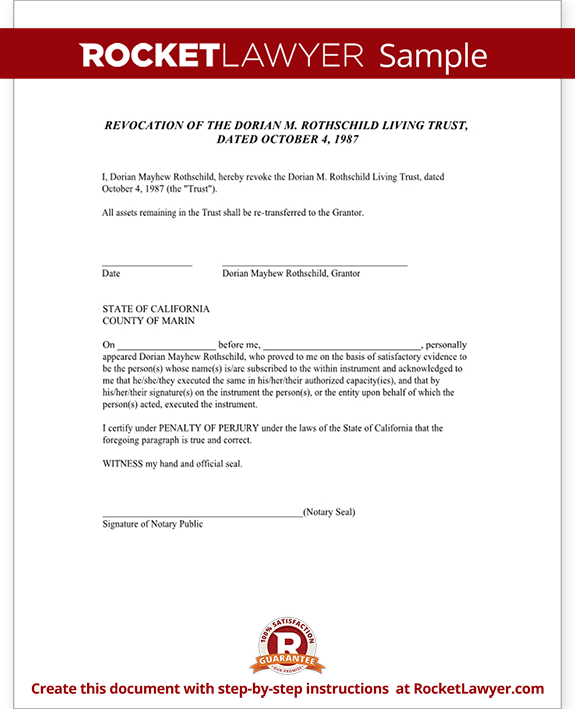 Sample Living Trust Revocation Form Template
