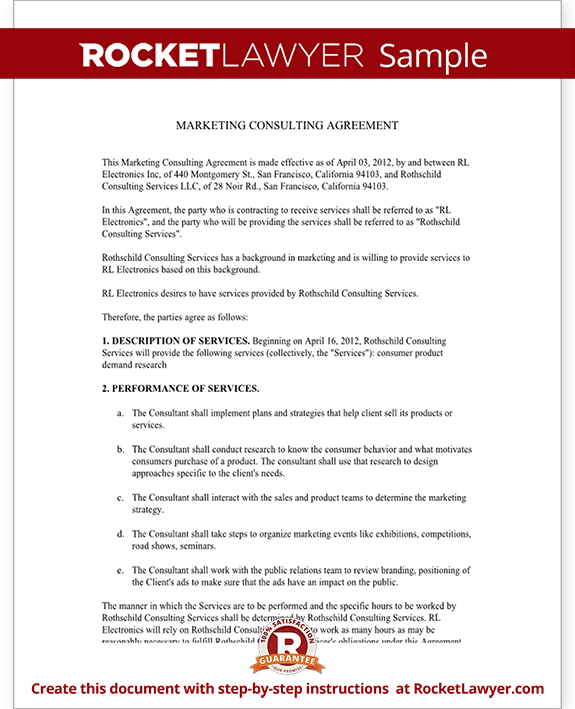 Marketing consulting agreement free template with sample for Royalty free license agreement template